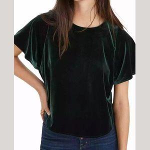 MADEWELL emerald green velvet top XXL